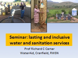 Seminar: lasting and inclusive water and sanitation service