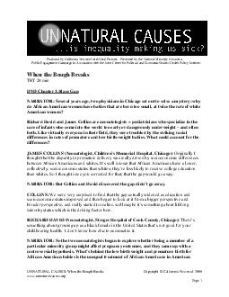 UNNATURAL CAUSES When the Bough Breaks Copyright  California Newsreel  www