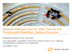 Medicaid Managed Care for Older Persons and Persons with Di