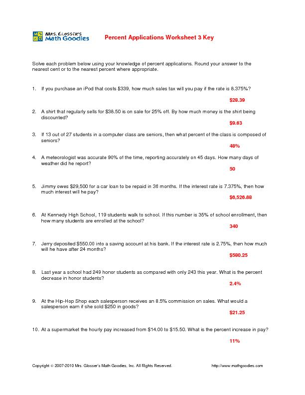 Percent Applications Worksheet Answer Key Solve each problem below ...