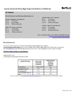Updated August  Learner Accounts Policy Regarding Cancellations and Refunds FEE SCHEDULE REE ER IFI AT AS NTERNATIONAL ELL Spring  May   August  Fall  September to December  May Fe Aug  Fe e D li May