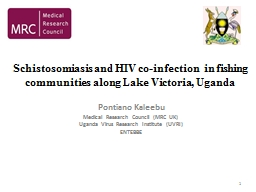 Schistosomiasis and HIV co-infection  in fishing communitie