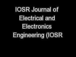 IOSR Journal of Electrical and Electronics Engineering (IOSR