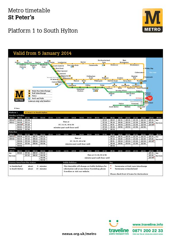 Metro timetable St Peter's