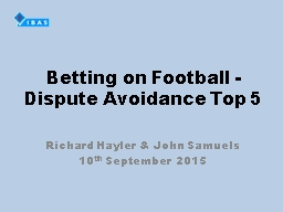 Betting on Football -