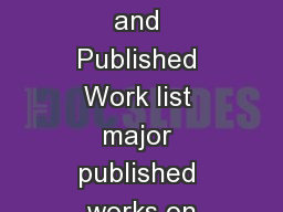 Research achievements and Published Work list major published works on PowerPoint PPT Presentation