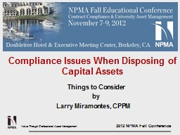 Compliance Issues When Disposing of Capital Assets