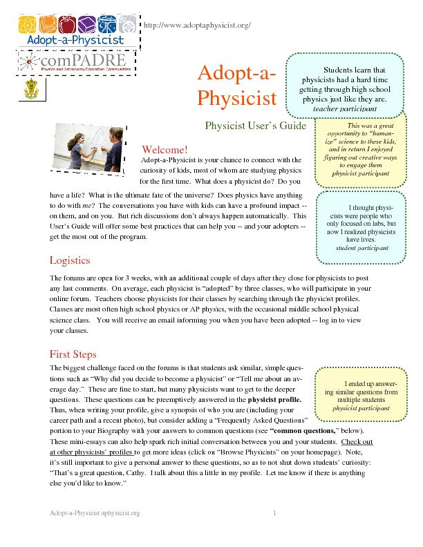 Adopt-a-Physicist aphysicist.org