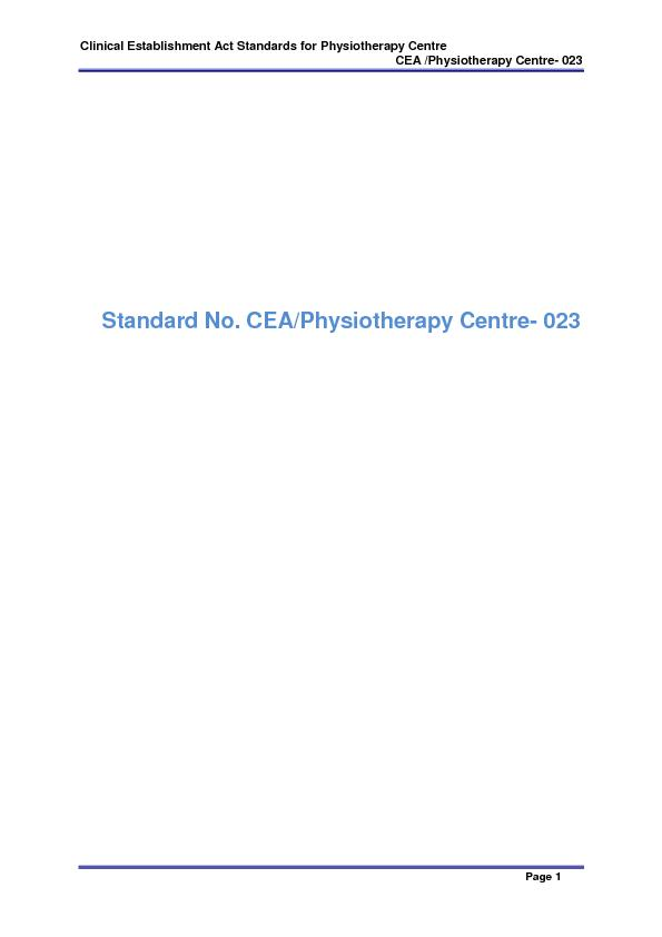 Clinical Establishment Act Standards for