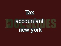 Tax accountant new york PDF document - DocSlides