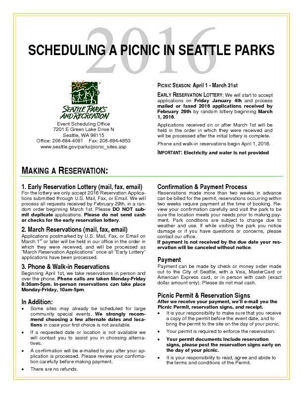 SCHEDULING A PICNIC IN SEATTLE PARKS Event Scheduling Office7201 E Gre