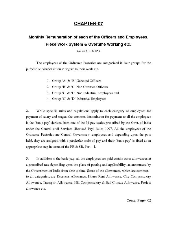 Monthly Remuneration of each of the Officers and Employees. Piece Work