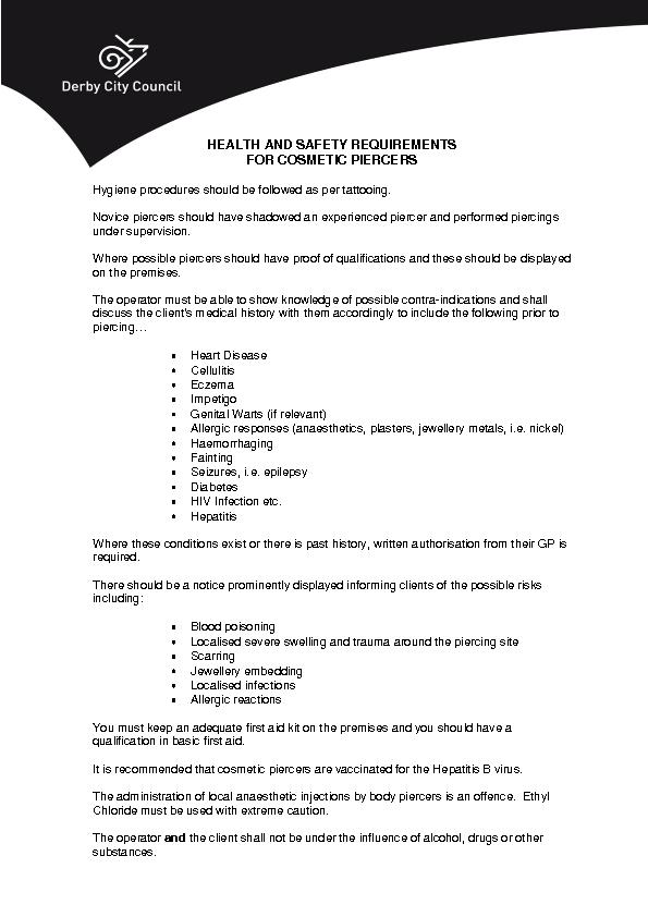 HEALTH AND SAFETY REQUIREMENTS