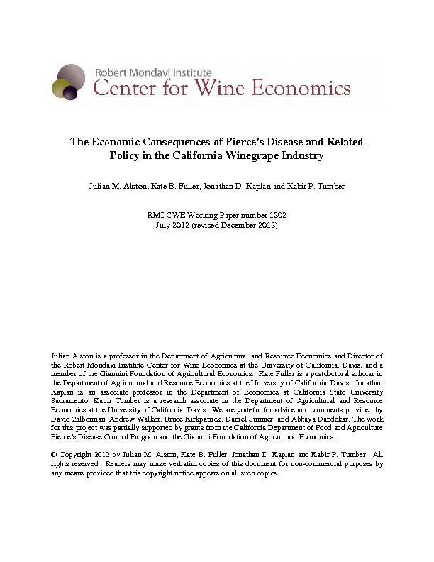 The Economic Consequencesof Pierce's Disease and Related Policy i