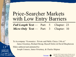 Price-Searcher Markets with Low Entry Barriers