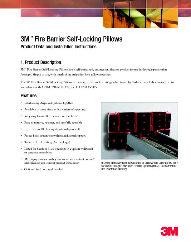 Fire Barrier Self-Locking PillowsProduct Data and Installation Instruc