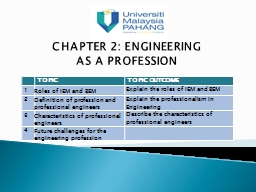 CHAPTER 2: ENGINEERING PowerPoint PPT Presentation