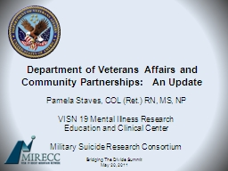Department of Veterans Affairs and Community Partnerships: