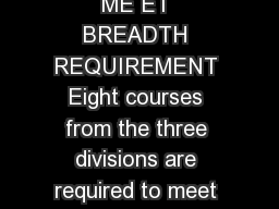 COURSES APPROVED TO ME ET BREADTH REQUIREMENT Eight courses from the three divisions are required to meet the Breadth Requirement
