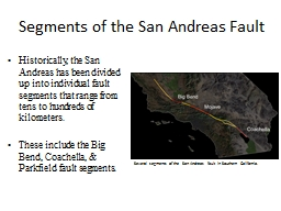 Segments of the San Andreas Fault PowerPoint PPT Presentation