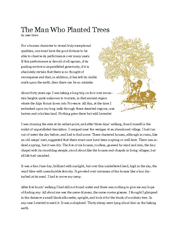 man who planted trees analysis Ethereal, serious animated films with environmental themes read common sense media's the man who planted trees review, age rating, and parents guide.