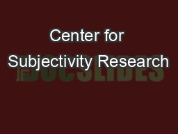 Center for Subjectivity Research