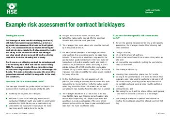 Example Risk Assessment Contract Bricklayers Thought About The Work