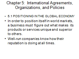 Chapter 5:  International Agreements, Organizations, and Po