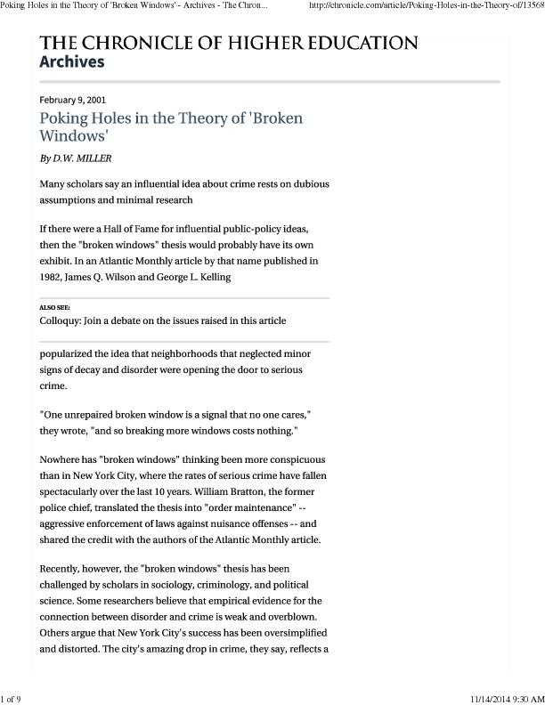 Poking Holes in the Theory of 'Broken Windows' - Archives - The Chron.