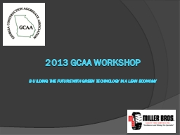 2013 GCAA Workshop