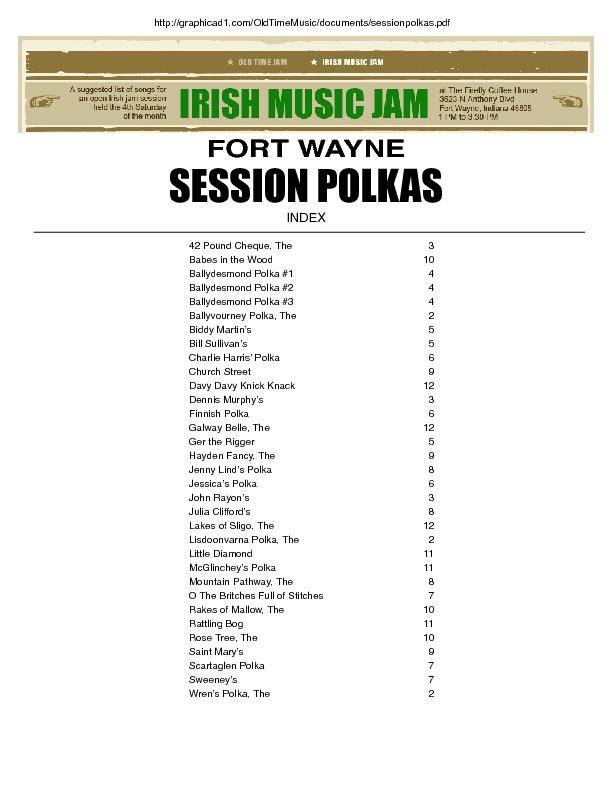 FORT WAYNE SESSION POLKAS index