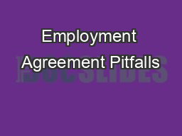 Employment Agreement Pitfalls