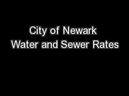 City of Newark Water and Sewer Rates