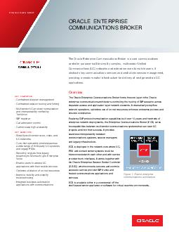 ORACLE DATA SHEET ORACLE ENTERPRISE COMMUNICATIONS BROKER The Oracle Enterprise Communications Broker is a core communications controller purpose built to simplify complex multivendor Unified Communi