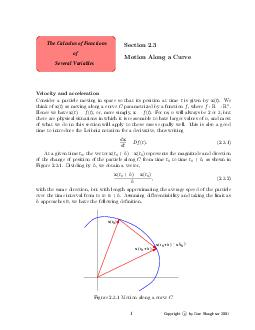 Several Variables The Calculus of Functions of Section