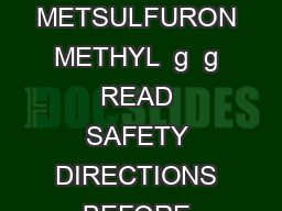BrushOf f brush controller  ACTIVE CONSTITUENT PACK SIZES  gkg METSULFURON METHYL  g  g READ SAFETY DIRECTIONS BEFORE OPENING OR USING For the control of certain brush and broadleaf species in native