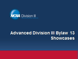 Advanced Division III Bylaw 13