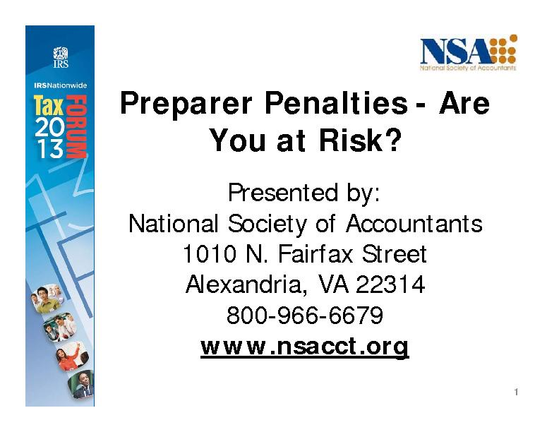 Preparer Penalties - Are
