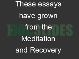 Essays Buddhism  The  Step Model of Recovery  introduction These essays have grown from the Meditation and Recovery group which began meeting weekly at the San Francisco Zen Center in