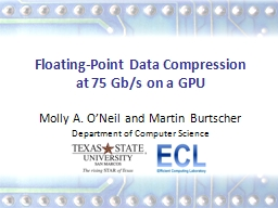 Synthesizing Effective Data Compression Algorithms for GPUs PowerPoint PPT Presentation