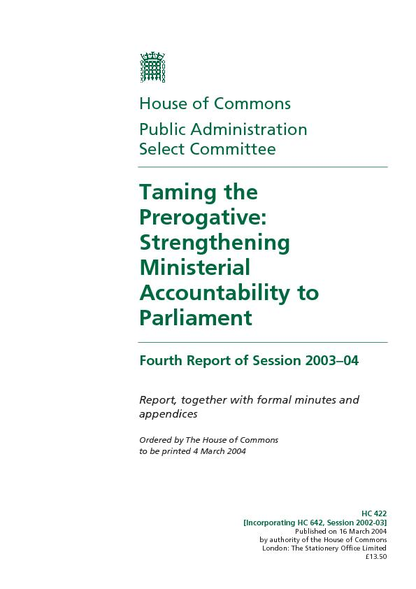 Published on 16 March 2004 by authority of the House of Commons London