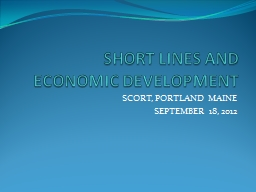 SHORT LINES AND ECONOMIC DEVELOPMENT