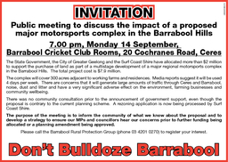INV TAT ON INV TAT ON Public meeting to discuss the impact of a proposed major motorsports complex in the Barrabool Hills