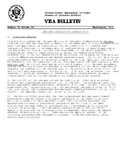 United States Department of State Bureau of Consular Affairs VISA BULLETIN Number Volume IX Washington D