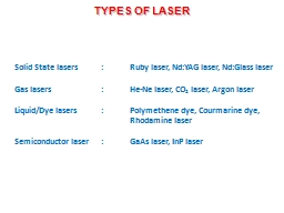 TYPES OF LASER PowerPoint PPT Presentation