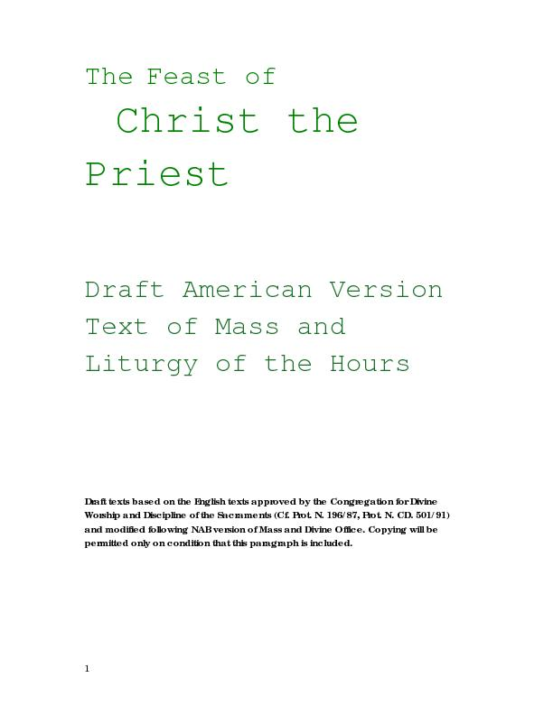 Christ the Draft texts based on the English texts approved by the Cong