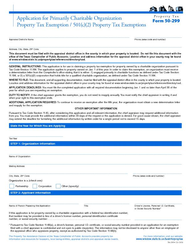 Property TaxForm 50-299Application for Primarily Charitable Organizati