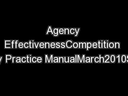 Agency EffectivenessCompetition Agency Practice ManualMarch2010Strateg