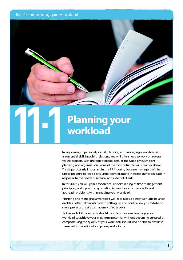 Unit 11: Plan and manage your own workloadIn any career, or personal p PowerPoint PPT Presentation