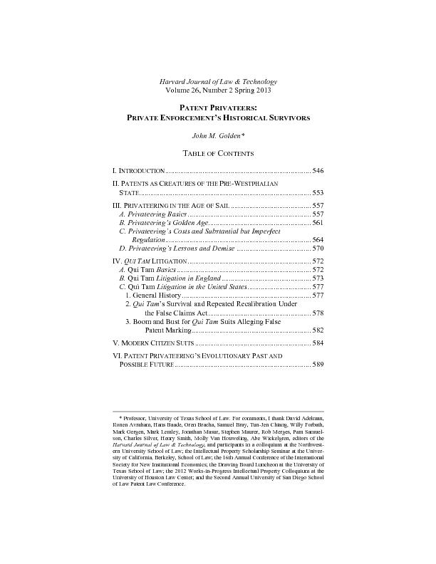C. The Private-Enforcement Perspective Applied to Questions of  Patent